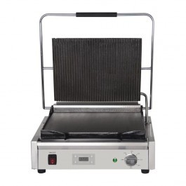 Buffalo FC382 Large Single Contact Grill with Flat Bottom & Ribbed Top Plate