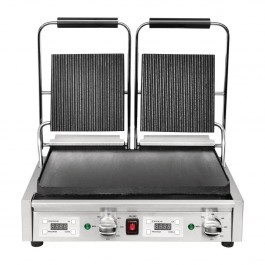 Buffalo FC385 Double Contact Grill with Flat Bottom & Ribbed Top Plates