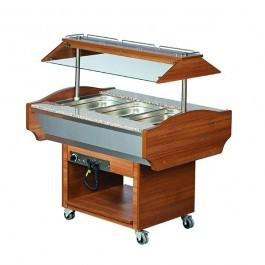 Blizzard GB3-HOT Teakwood Heated 3 GN 1/1 Display with Granite Top