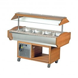 Blizzard GB4-COLD Teakwood Chilled 4 GN 1/1 Display with Granite Top