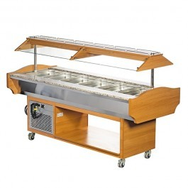 Blizzard GB6-COLD Teakwood Chilled 6 GN 1/1 Display with Granite Top