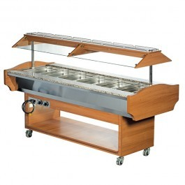 --- BLIZZARD GB6-HOT --- Teakwood Heated 6 GN 1/1 Display with Granite Top