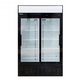 Blizzard GD630SL Sliding Twin Glass Door Merchandiser with 4 Shelves & Canopy