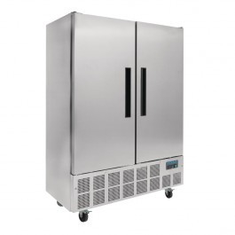 Polar GD879 Double Door Slimline Stainless Steel Upright Fridge