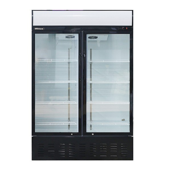 Blizzard GD900 Hinged Twin Glass Door Merchandiser with 4 Shelves & Canopy