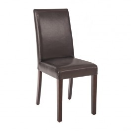 Bolero GF955 Dark Brown Faux Leather Dining Chairs - Pack 2