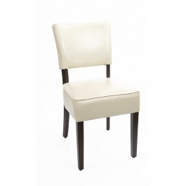 Bolero GF958 Cream Chunky Faux Leather Chairs - Pack 2