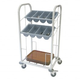 Craven TCDT2-100 Epoxy Trolley with Tray Dispense & 2 Cutlery Holders