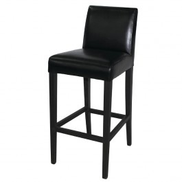Bolero GG651 Black Faux Leather High Bar Stool with Back
