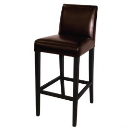Bolero GG652 Dark Brown Faux Leather High Bar Stool with Back