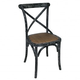 Bolero GG654 Wooden Dining Chair with Cross Backrest Black Wash Finish - Box of 2