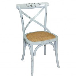 Bolero GG655 Blue Bentwood Chairs with Metal Cross Backrest - Box of 2