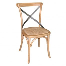 Bolero GG656 Natural Bentwood Chairs with Metal Cross Backrest - Box of 2