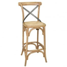 Bolero GG657 Natural Wooden Bar Stool with Metal Cross Back Rest