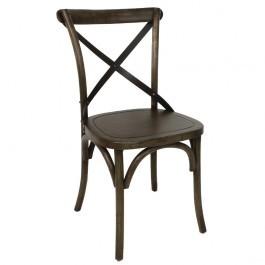 Bolero GG658 Walnut Finish Wooden Dining Chair with Metal Cross Backrest - Box of 2