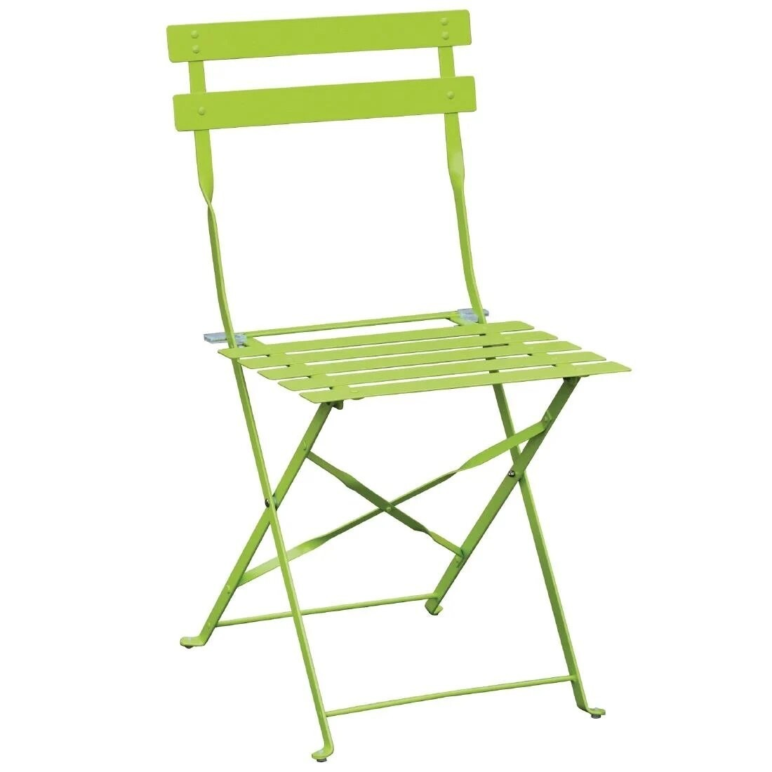 Bolero GH552 Green Steel Frame & Seat Pavement Style Folding Chairs - Pack 2