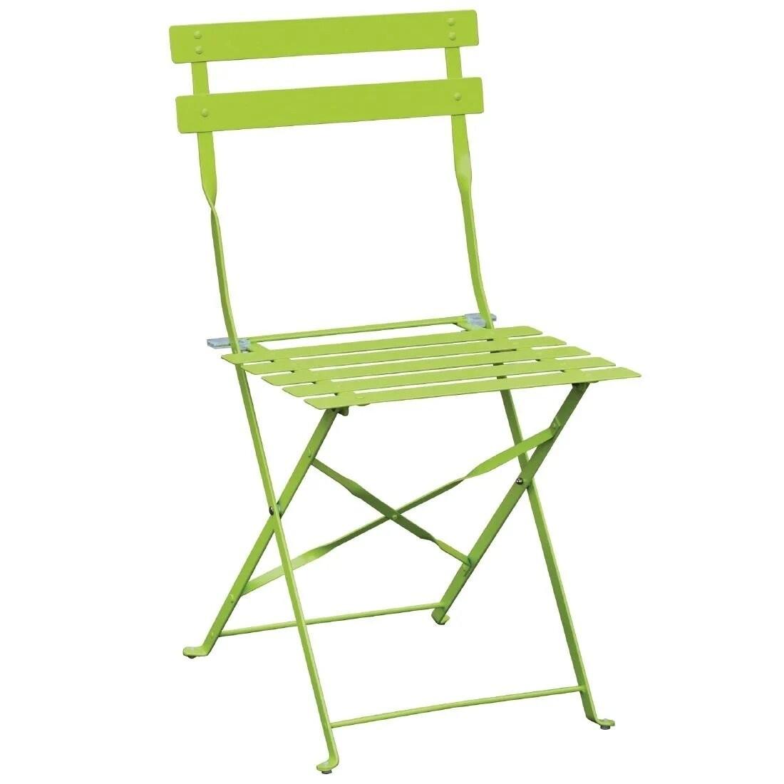 Bolero GH552 Green Steel Frame & Seat Pavement Style Folding Chairs - Pack 2