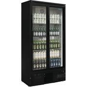 Polar GJ448 Upright Back Bar Black Bottle Cooler Sliding Double Door