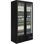 Polar GJ449 Upright Back Bar Black Bottle Cooler Hinged Double Door