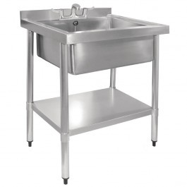 Vogue GJ537 Single MidiPot Sink With Undershelf, Upstand & Waste Kit - W770mm