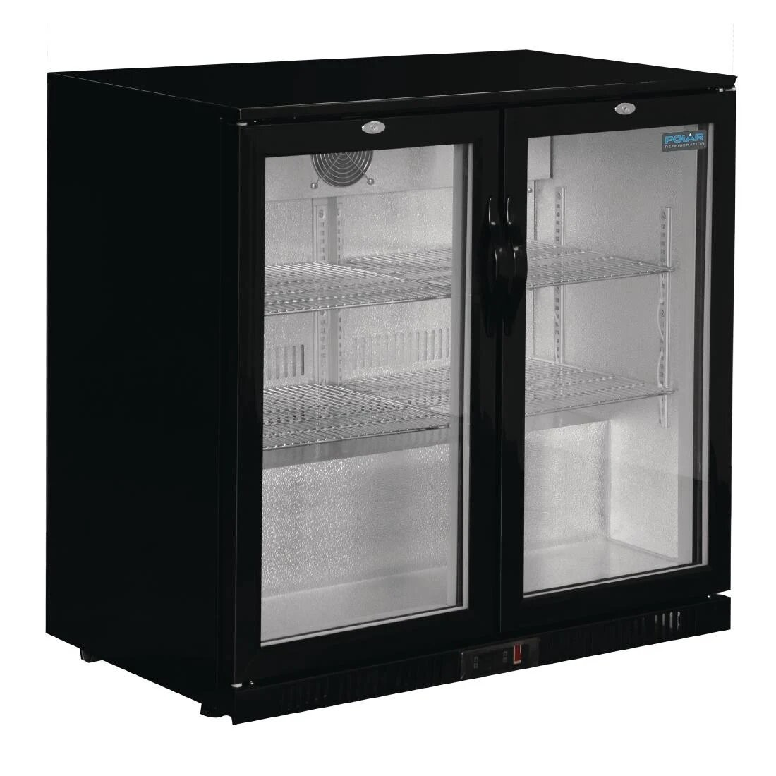 Polar GL002 G-Series Double Hinged Door Black Cooler with LED Lighting