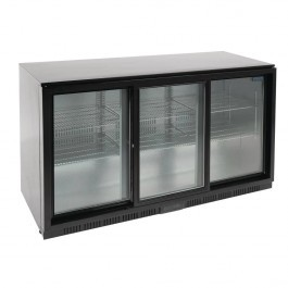 Polar GL013 G-Series Triple Sliding Door Black Cooler with LED Lighting