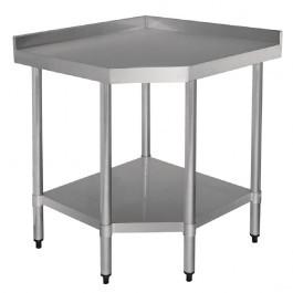 Vogue GL278 Stainless Steel Corner Table With Galvanised Undershelf - 700mm