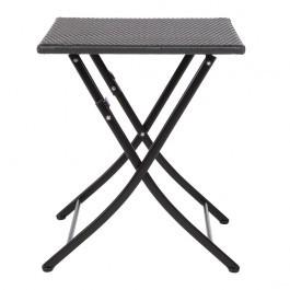 Bolero GL302 Black Steel & PE Wicker Folding Table - 600mm