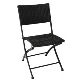 Bolero GL303 Black Steel & PE Wicker Folding Chairs - Pack of 2