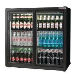 Autonumis A215186 Popular Black Sliding Double Door 3 Foot Bottle Cooler
