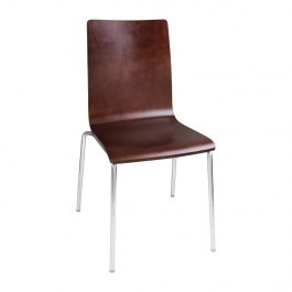 Bolero GR343 Dark Chocolate Finish Square Back Sidechair with Chrome Frame - Pack 4