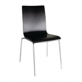 Bolero GR345 Black Square Back Sidechair with Chrome Frame - Pack 4