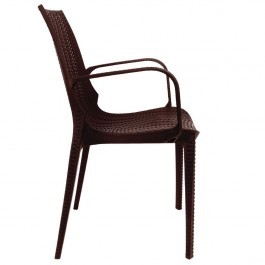 Bolero GR362 Brown PP Rattan Stackable Bistro Arm Chairs - Pack of 4