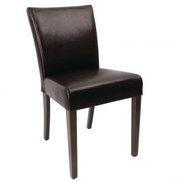 Bolero GR366 Dark Brown Faux Leather Contemporary Dining Chairs - Pack 2