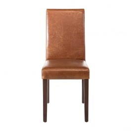 Bolero GR368 Antique Tan Faux Leather Dining Chairs - Pack 2