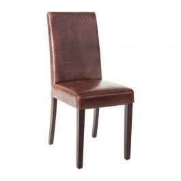 Bolero GR369 Antique Brown Faux Leather Dining Chairs - Pack 2