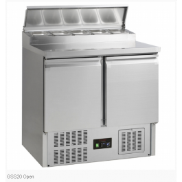 G-Line Tefcold GSS20 Stainless Steel Two Door Gastronorm Saladette Counter