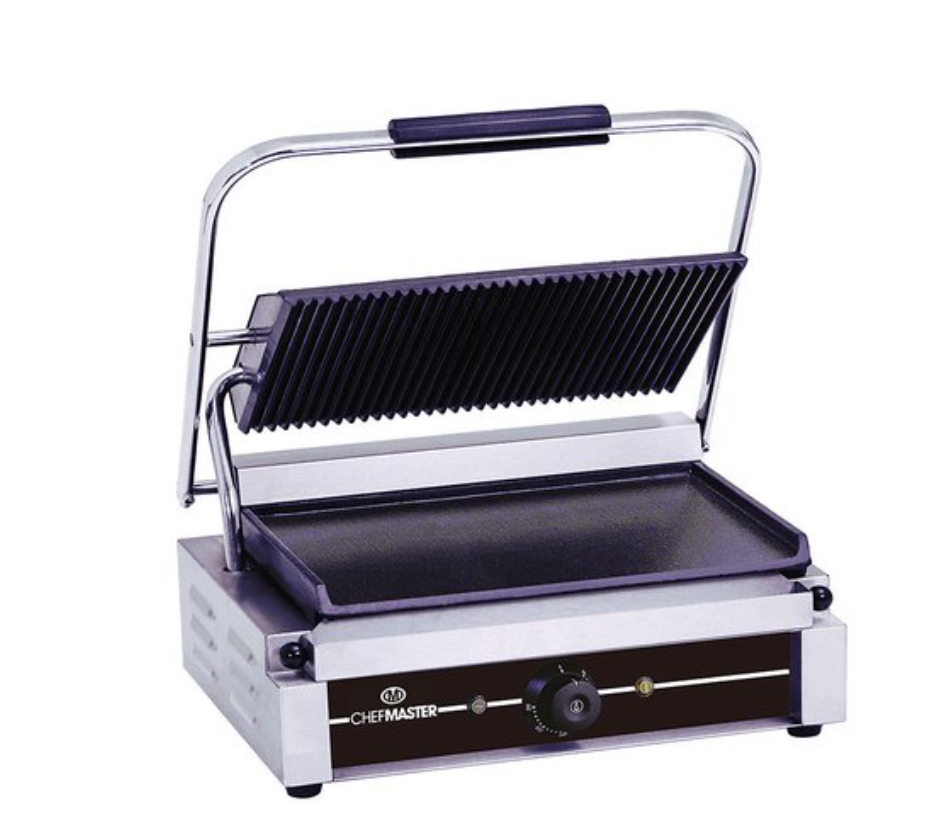 Chefmaster HEA750 Large Single Contact Grill with Ribbed Top & Flat Bottom Plates