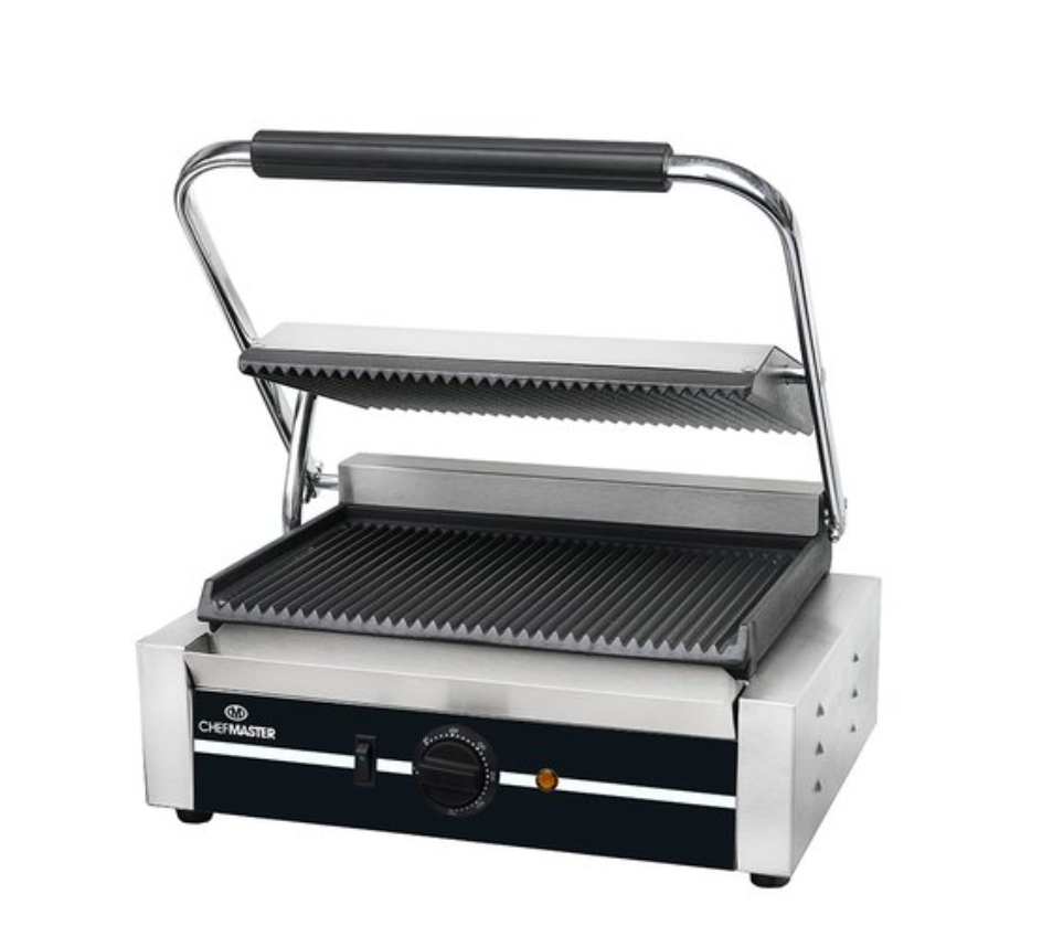 Chefmaster HEA787 Large Single Contact Grill with Ribbed Plates
