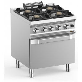 Hobart Ecomax HEFB77FGXL Four Burner Gas Hob With Oven