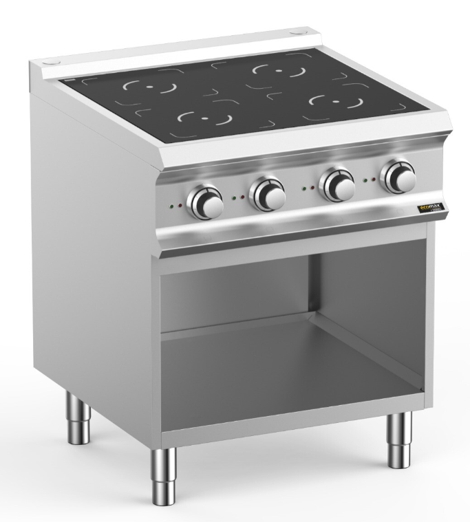 Hobart Ecomax HEIN77A Four Plate Induction Hob With Open Cupboard