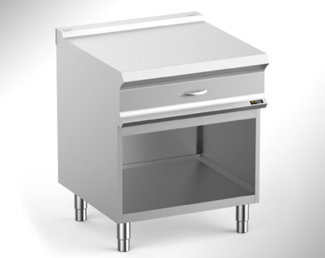Hobart Ecomax HEN74A Worktop with Rear Flue on Open Cupboard