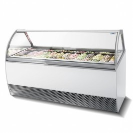 ISA Millennium LX24 Ventilated Scoop Ice Cream Display with Curved Glass
