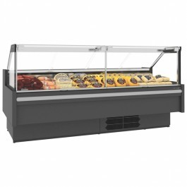 Tefcold Elara 375F Flat Glass Serve Over Counter with Refrigerated Under Storage