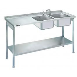 Lincat L884L/H Double Sink Unit with Left Hand Drainer 1500mm Long