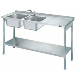 Lincat L884R/H Double Sink Unit with Right Hand Drainer