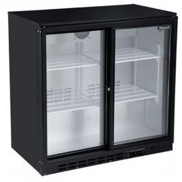 --- BLIZZARD LOWBAR2SL --- Low Height Double Sliding Door Black Bottle Cooler