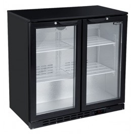 --- BLIZZARD LOWBAR2 --- Low Height Double Hinged Door Black Bottle Cooler