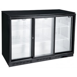 --- BLIZZARD LOWBAR3SL --- Low Height Triple Sliding Door Black Bottle Cooler