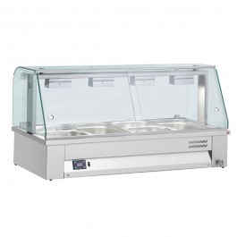 Inomak MBV614 Counter Top Heated 4 x GN1/1 Bain Marie with Glass Structure